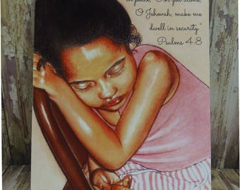"""5"""" x 7"""" Print ~ Lie down & sleep in peace...Jehovah, make me dwell in security - Psalm 4:8 Scripture ~ Soft Chalk Pastels"""