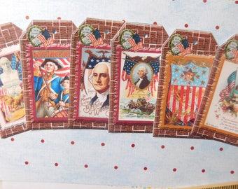 Patriotic July Fourth Handmade Tags - Set of Six
