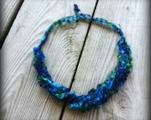 Ladder Yarn Necklace/Blue Lagoon Crochet Ribbon Necklace/Crocheted Necklace/Fiber Jewelry/CLASSY Blue Lagoon Ladder Necklace (Ready to Ship)