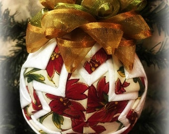 HANDMADE QUILTED Ornament/Flower Design and White Fabric Ornament/Fabric Ornament/ Quilted /Handmade Ornament(Ready to Ship)