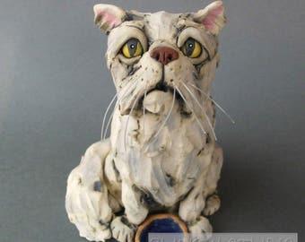 Persian Cat with Food Bowl Ceramic Animal Sculpture