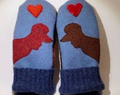 RESERVED FOR LAURIE wool Sweater Mittens Blue Poodle Applique and Leather Palm Eco Friendly Upcycled  Size M/L