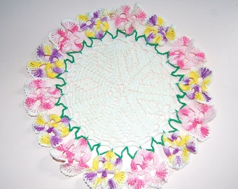 Pansies  Pansy Doily  Hand Crocheted Doily  Vintage Doily Pink Purple Yellow Pansies  Vintage Linens Lost Art Crochet Gift Home Decor