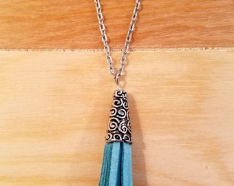 Long Leather Tassel Necklace in Blue