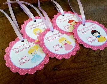 Princess Party - Set of 12 Personalized Favor Tags by The Birthday House