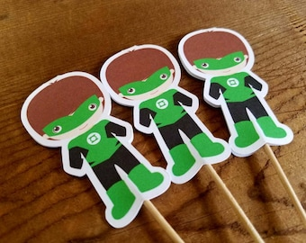 Superhero Friends Party Collection - Set of 12 Green Lantern Cupcake Toppers by The Birthday House