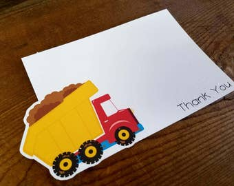 Construction Party - Set of 8 Dump Truck Thank You Cards by The Birthday House