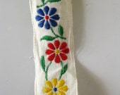 Vintage Trim. Embroidered Trim Floral Trim, Yellow, Red and Blue Flowers, 3 Yards For Your Project