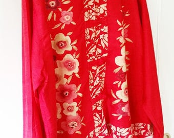 Vintage Silk Chicos Blouse, Red With Floral Design, Mandarin Collar, Fabric Knot Closures, Size Large or a Size 3
