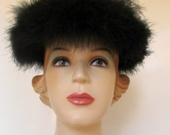 1950s designer hat Vintage Feather Hat Black Feather Hat Ostrich Feathers Avant Garde