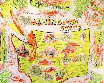 Souvenir Scarf Vintage Scarves 1960s Washington State Scarf Scarves Hand Rolled Edge Mt. Rainier ferry grand coulee dam