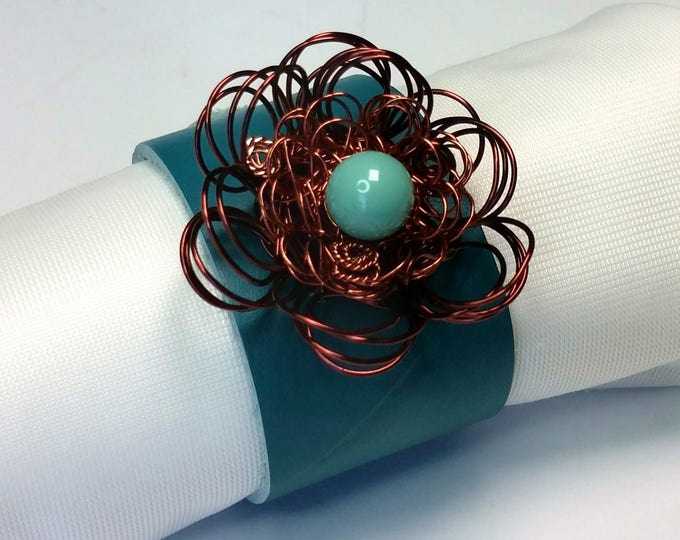 Teal Leather Adjustable Cuff Bracelet with Antique Copper Wire Flower with Single Large Bead Turquoise Swarovski Pearl