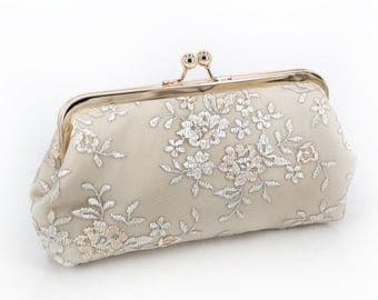 Champagne Embroidery Tulle Lace Bridal Clutch in Ivory 8-inches