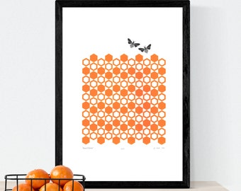 Bumblebees Fine Art Print (honey orange) A3 size