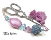 Mauve Blue Victorian Scissor Fob Beaded OOAK Scissor Keeper Scissor Minder Elite Series Needlepoint Quilting Sewing Accessory Cross Stitch