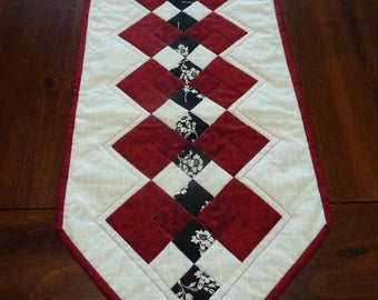 White, Red and Black Seminole Table Runner