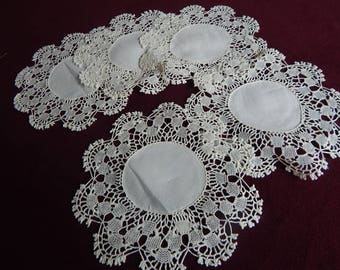 Antique Linen Lace Doily (5) Lace Doilies Linen Bobbin/ Miracourt Lace Table Doily Lot 7-1/2""