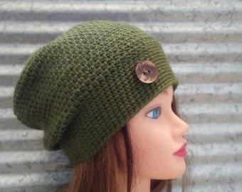Dark Green Slouchy Hat Crochet Beanie