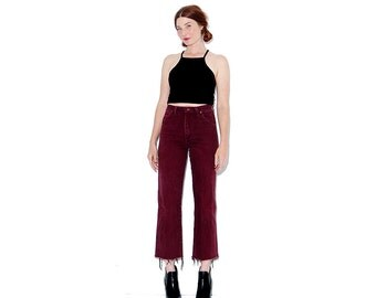 vintage Wrangler Jeans / rare oxblood merlot jeans black denim ripped jeans mom jeans high waisted jeans distressed jeans