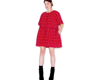 omg cutest oversized AMERICA DRESS / red white and blue with embroidered stars / 3xl oversized dress shirt dress tent dress flannel dress