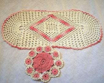 Crochet Doilies, Set of Doilies, Vintage Doily, Vintage Crochet Doilies, Pink and White Doilies