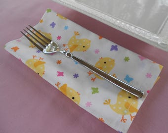 Fabric Dinner Napkins, Easter Chicks, Kitchen Napkins, Yellow Chick Napkins, 4 Four Dinner Napkins, Mitered Napkins, Cloth Napkins, Spring