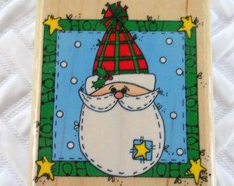 DESTASH - Inkadinkadoo, Inc, Ho Ho Ho Christmas Stamp, Rubber Stamp, Card Stamp, Scrapbooking Stamp