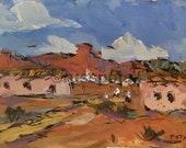 Southwest Art, New Mexico, adobes and mesas, Santa Fe Region, small matted original painting, ready to frame, hand made art, Russ Potak