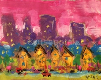 Urban Suburbia, original small painting, pink sky, yellow row houses, lavender city skyline, ready to mat and frame