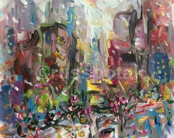 City Holidays, original abstract expressionist painting, medium size art, modern art, expressive lines and colors, Russ Potak