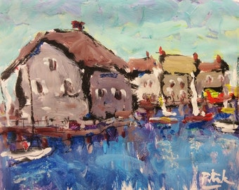 Sailboat seascape harbor cove Painting, dock by the water, impressionist acrylic art, with seaside town and red boat, Russ Potak