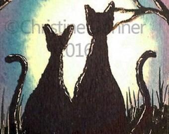 Original Art Black Cats & Moon ACEO Painting