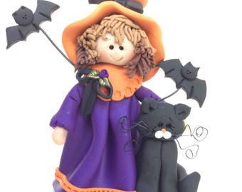 Polymer Clay Halloween Witch with Bats and a Cat by Helen's Clay Art