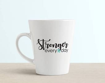 Stronger Every Day Vinyl Sticker - Domestic Violence Awareness Design - Help Stop Abuse - Black and Teal