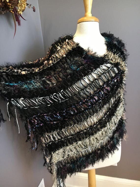 Hand Knit Fringed Poncho, Shaggy Chic,  'Black Pastel', boho chic, Multitextural Fringed Knit Poncho, black pink tan, shoulder wrap, sweater