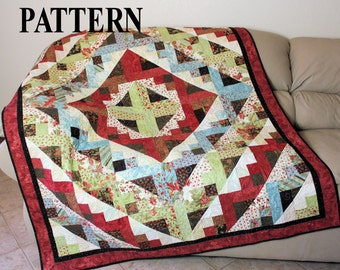 Quilt Pattern - Trip Around Shangri-La, Lap Quilt Pattern, Queen Bed Pattern, Sofa Throw Medallion Pattern, Quiltsy Handmade