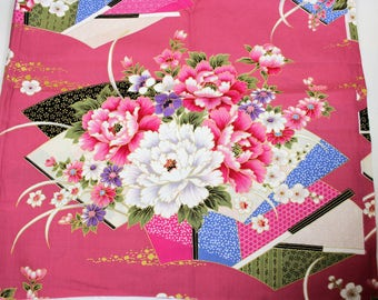 Pink Asian Fabric, One Yard Flowers and Fans on Pink Background, Floral Oriental Fabric, Quiltsy Destash