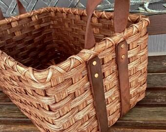 Leather Handled Storage Basket