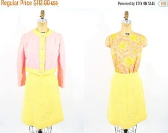 50% OFF SALE // 1960s mod suit | pink yellow wool jacket skirt blouse mod suit set | vintage 60s suit | W 25""