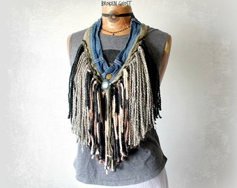Women's Art Scarf Unique Gift Bohemian Chic Shaggy Necklace Fringe Jewelry Recycle Denim Jeans Country Western Camouflage Boho Scarf 'SHEENA