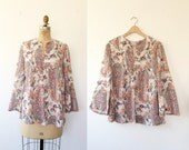 vintage 70s blouse / cotton 70s blouse / India Paisley blouse