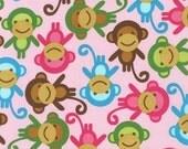 SALE FABRIC - Pink Monkeys - Urban Zoologie by Ann Kelle for Robert Kaufman Fabrics - 100% Cotton fabric - Pink, Brown, Aqua Monkeys