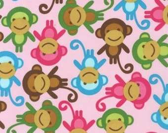 SALE FABRIC - Pink Monkeys - Urban Zoologie by Ann Kelle for Robert Kaufman Fabrics - 100% Cotton fabric - Pink, Brown, Aqua Monkeys