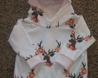 Baby Girl Outfit//Deer Antler Floral Design with Plaid//Sized 6-9 Months//Photo Shoot
