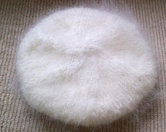 Fluffy Luxury Mohair sweater TAM BERET Beanie Cap or Hat  in White or Hyacinth  by uniquemohair