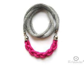 Pink Rosè Long Braid Necklace Sautoir-ThousandBraids Ginkgo- textile necklace jewelry,braided necklace