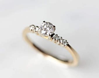 Vintage Engagement Ring | 14k Gold Ring | Antique Diamond Ring | Solitaire with Accent Diamonds | Unique Wedding Band [The Winslet Ring]