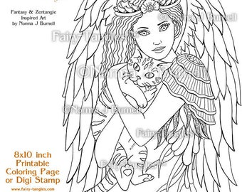 ill keep you safe fairy tangles printable coloring pages by norma j burnell digital - Coloring Book Angels