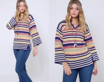 Vintage 70s STRIPED Sweater BELL SLEEVE Hippie Sweater Hooded Tunic Sweater Knit Top