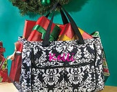 Oversized Multi-Pocket Utility Totes- Embroidered, Personalized, Damask, Black and White